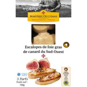 3 escalopes de foie gras de canard du Sud-Ouest surgelé