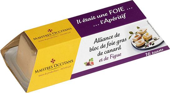 Alliance de bloc de foie gras de canard et de figue mi-cuit 110g