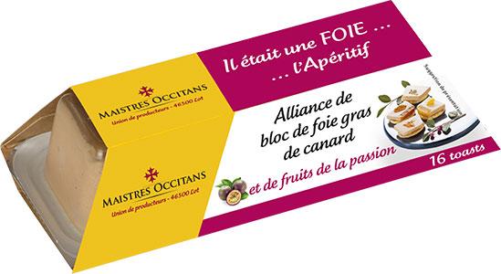 Alliance de bloc de foie gras de canard et de fruits de la passion mi-cuit 110g