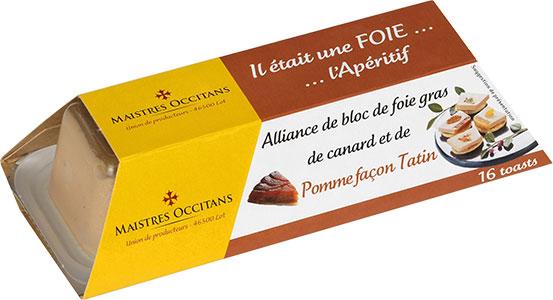 Alliance de bloc de foie gras de canard et de pommes façon tatin mi-cuit 110g