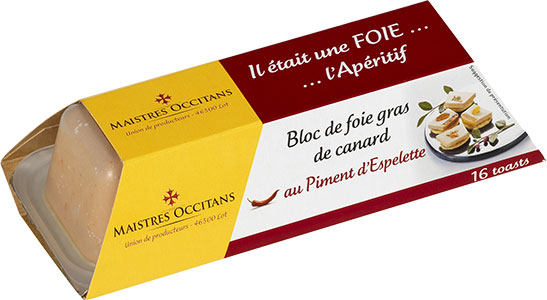 Bloc de foie gras de canard au piment d'Espelette mi-cuit 110g