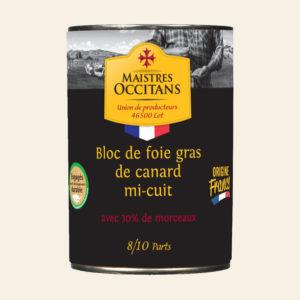 Bloc de foie gras de canard avec 30% de morceaux mi-cuit 400g
