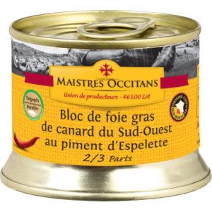 Bloc de foie gras de canard du Sud-Ouest au piment d'Espelette 140g