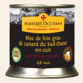 Bloc de foie gras de canard du Sud-Ouest avec 30% de morceaux mi-cuit 200g