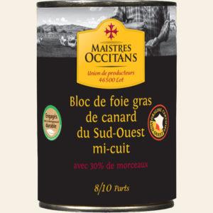 Bloc de foie gras de canard du Sud-Ouest avec 30% de morceaux mi-cuit 400g