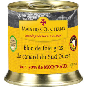 Bloc de foie gras de canard du Sud-Ouest avec morceaux (30% de morceaux) 200g