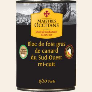 Bloc de foie gras de canard du Sud-Ouest mi-cuit 400g