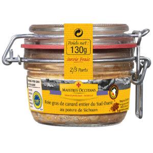 Foie gras de canard entier du Sud-Ouest au poivre de sichuan 130g