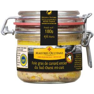 Foie gras de canard entier du Sud-Ouest mi-cuit 180g