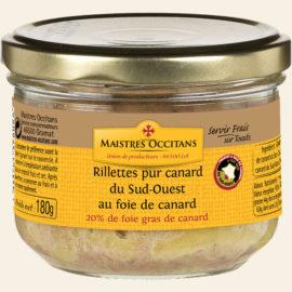 Rillettes pur canard du Sud-Ouest au foie gras (20% de foie gras de canard) 180g