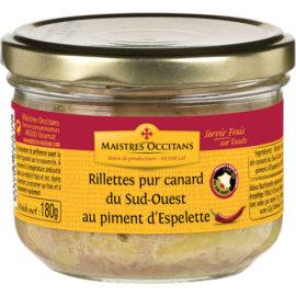 Rillettes pur canard du Sud-Ouest au piment d'Espelette 180g